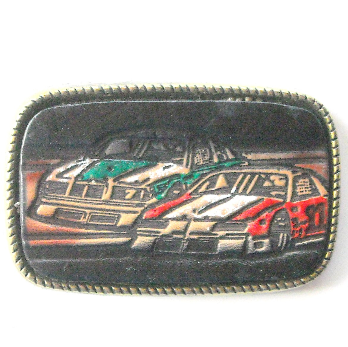 Nascar Leather Brass Belt Buckle #2