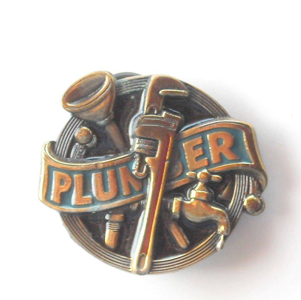 Vintage Great American Buckle Co American Plumber brass alloy belt buckle