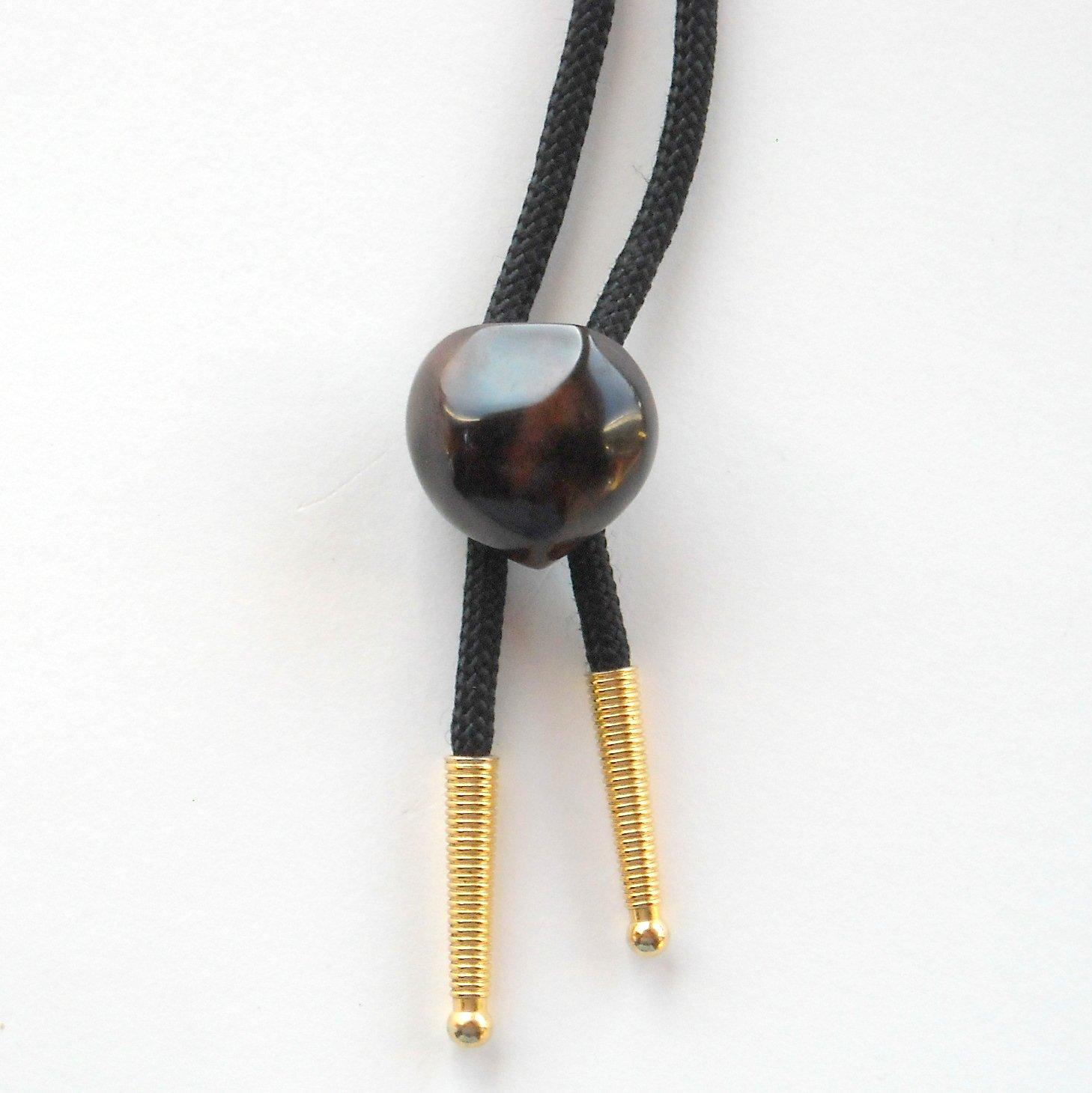 Vintage Brown Faux Rock Gold Tone Bootlace Bolo Tie