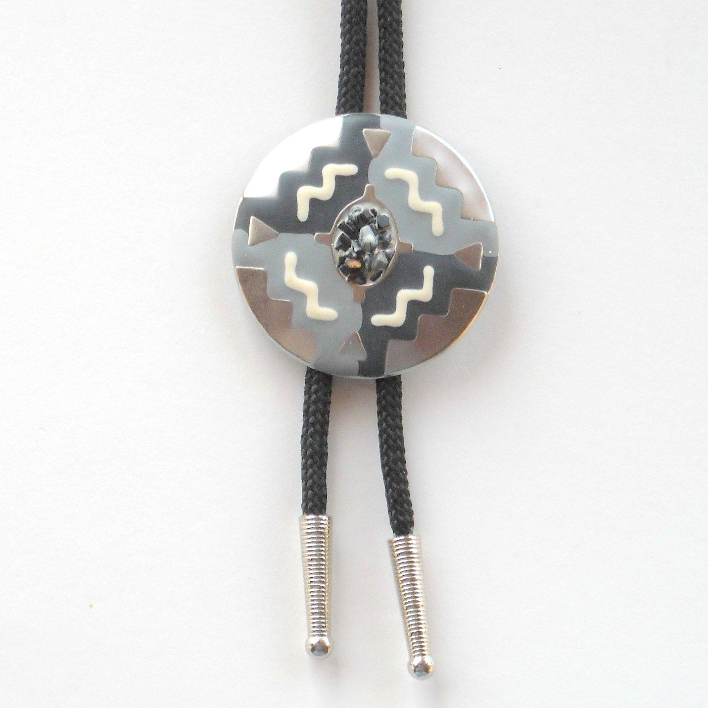 Native American Southwest Design Silver Tone Bootlace Bolo Tie