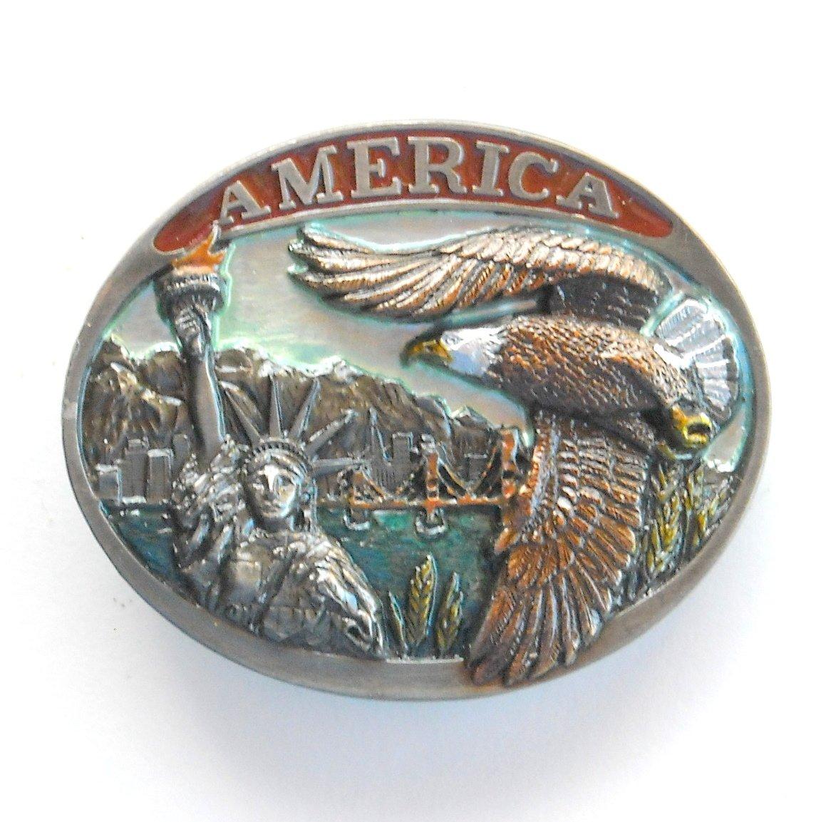 America Liberty Flying Bald Eagle Vintage C & J Belt Buckle