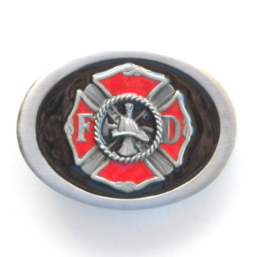 FD Firefighter Fire Department C+J Pewter Belt Buckle
