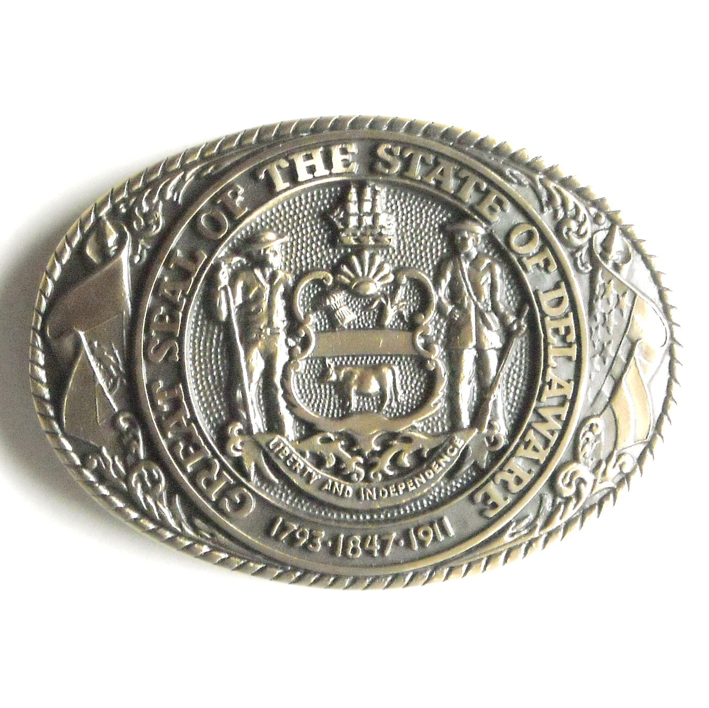 XXX Vintage Tony Lama First Edition Great Seal Of The State Of Delaware brass belt buckle +