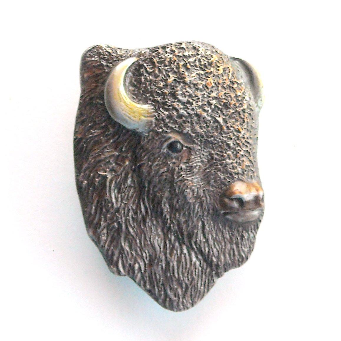 American Bison Buffalo 3D Bergamot Vintage belt buckle
