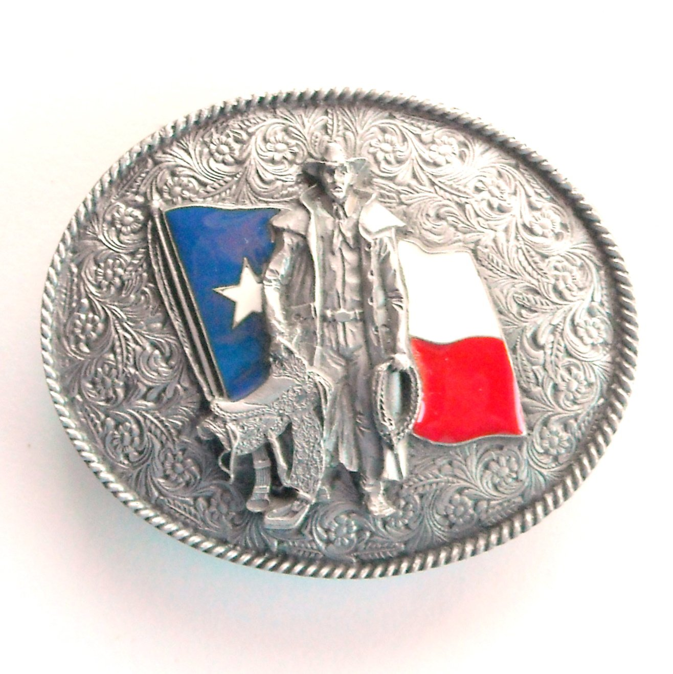 Texas Flag Cowboy Saddle 3D Bergamot Belt Buckle