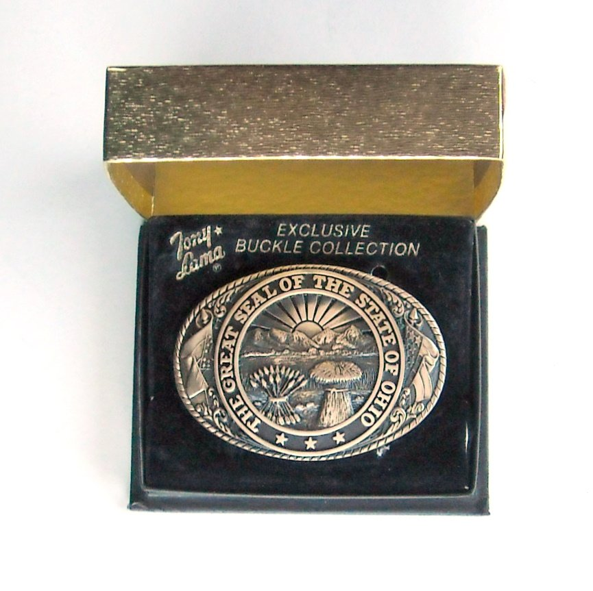 Tony Lama Vintage First Edition Great Seal Of The State Of Ohio brass belt buckle