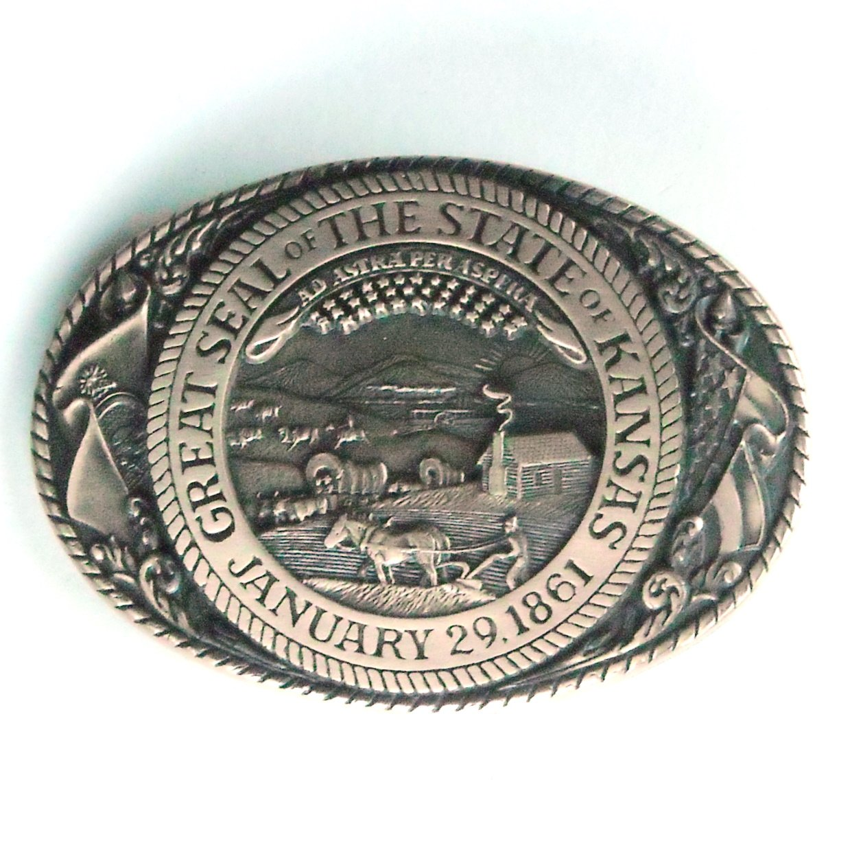 Tony Lama Vintage Great Seal Of The State Of Kansas brass belt buckle