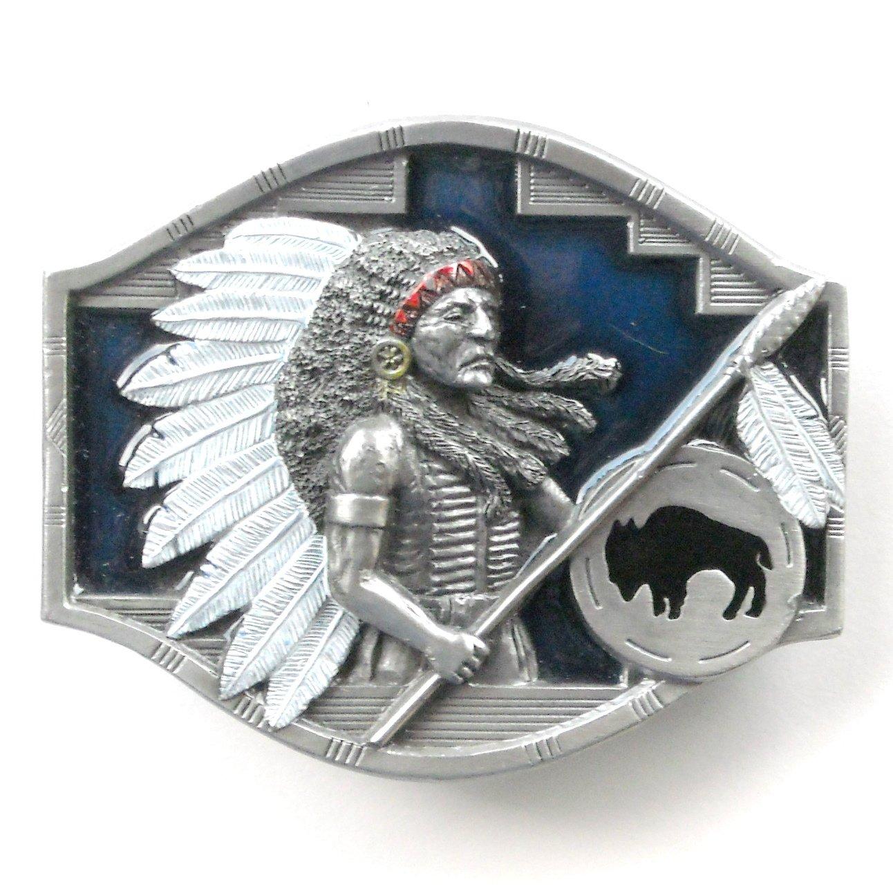 Native American Indian Chief Vintage 3D Arroyo Grande Pewter Belt Buckle