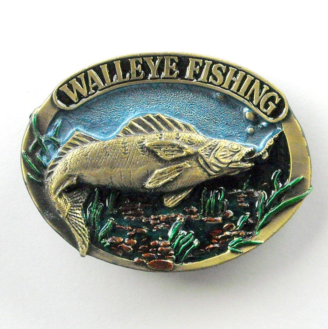 Walleye Fishing Vintage 3D Great American Buckle Pewter metal alloy belt buckle
