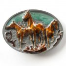 Wild Horses 3D Vintage C&J Pewter metal alloy belt buckle