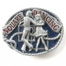 Square Dancing 3D Vintage C&J Pewter metal alloy belt buckle