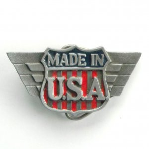 Made In U.S.A. Logo Vintage C + J Pewter metal alloy belt buckle