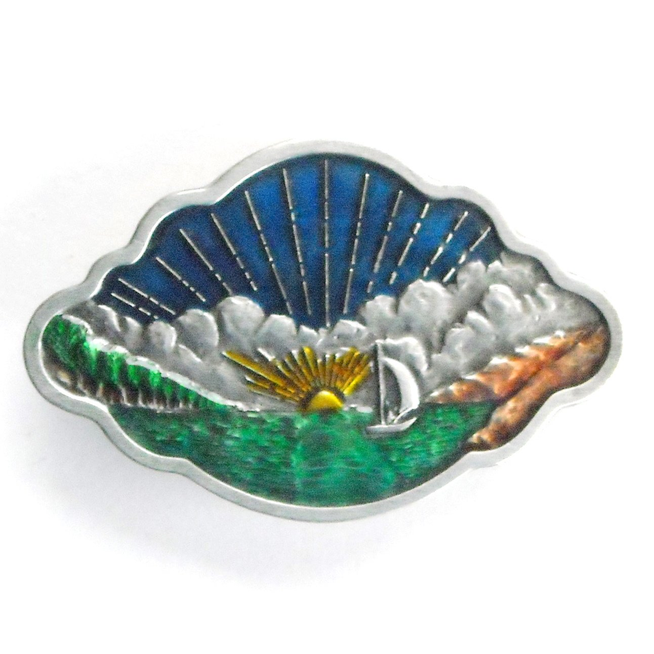 Sunset Lake Boat Bergamot pewter belt buckle