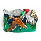 Mallard Green Head Ducks Pond Bergamot Pewter Belt Buckle