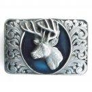 Buck Stag Deer Ornate Frame Bergamot pewter belt buckle