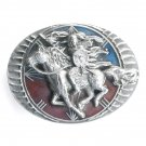 Native American Warrior Bergamot Pewter Belt Buckle