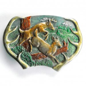 Running Stag Deer Bergamot pewter belt buckle
