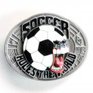 Soccer Rules The World Bergamot pewter belt buckle
