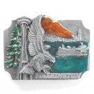 Washington Space Needle Eagle Vintage Siskiyou pewter belt buckle