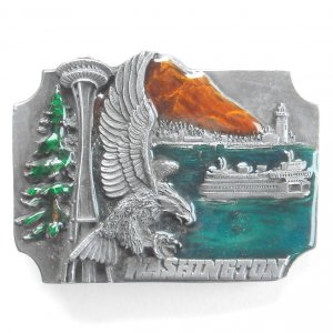 Washington Space Needle Eagle Vintage Siskiyou pewter belt buckle