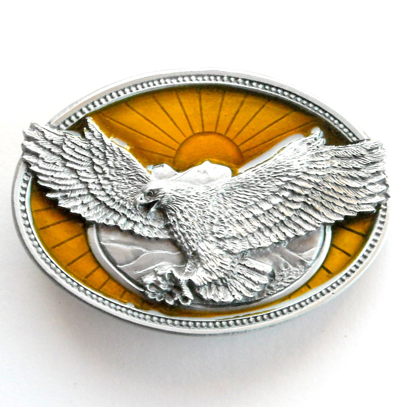 Landing Eagle Mountain 3D Katz Pewter Belt Buckle