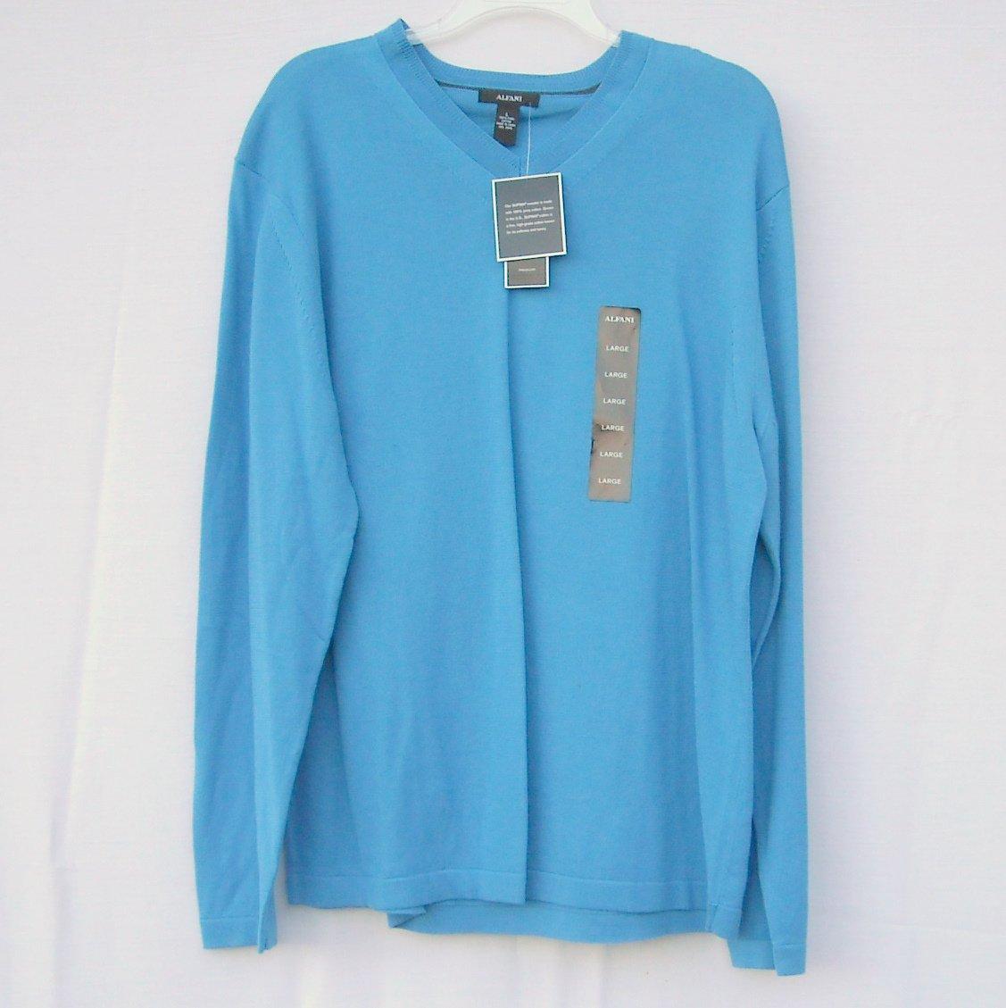 Alfani Cayman Blue V Neck Pima Cotton Boys Long Sleeve Knit Shirt Sweater size L