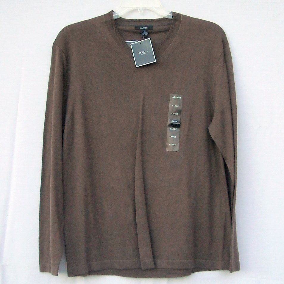 Alfani Cigar V Neck Pima Cotton Boys Long Sleeve Knit Shirt Sweater size L