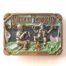 Vintage Great American Buckle Co American Fisherman Swappin Lies pewter alloy belt buckle