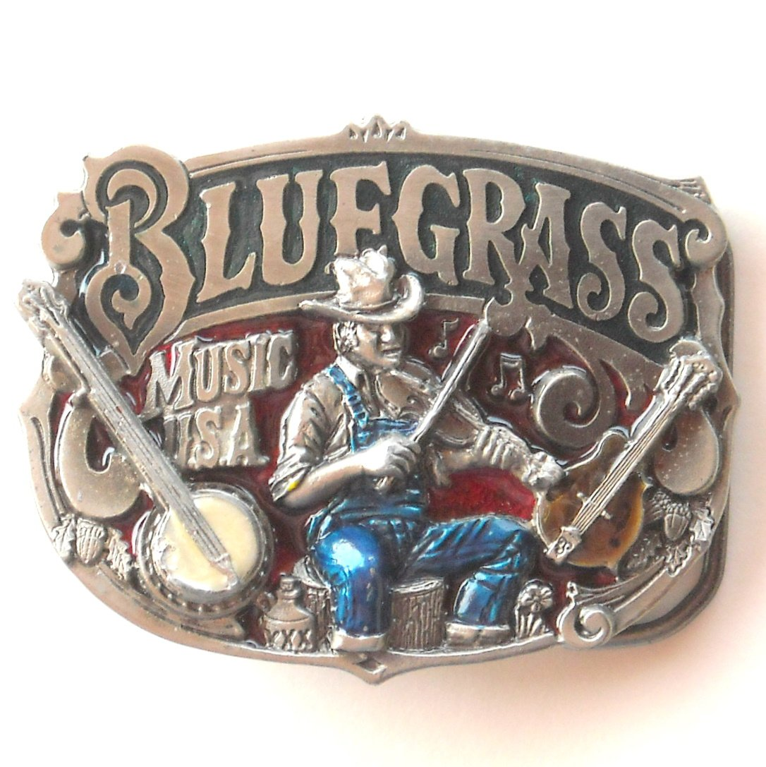 Blue Grass Music Great American Buckle Co Pewter Belt Buckle