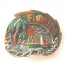 Vintage Great American Buckle Co Florida Sunshine State pewter alloy belt buckle
