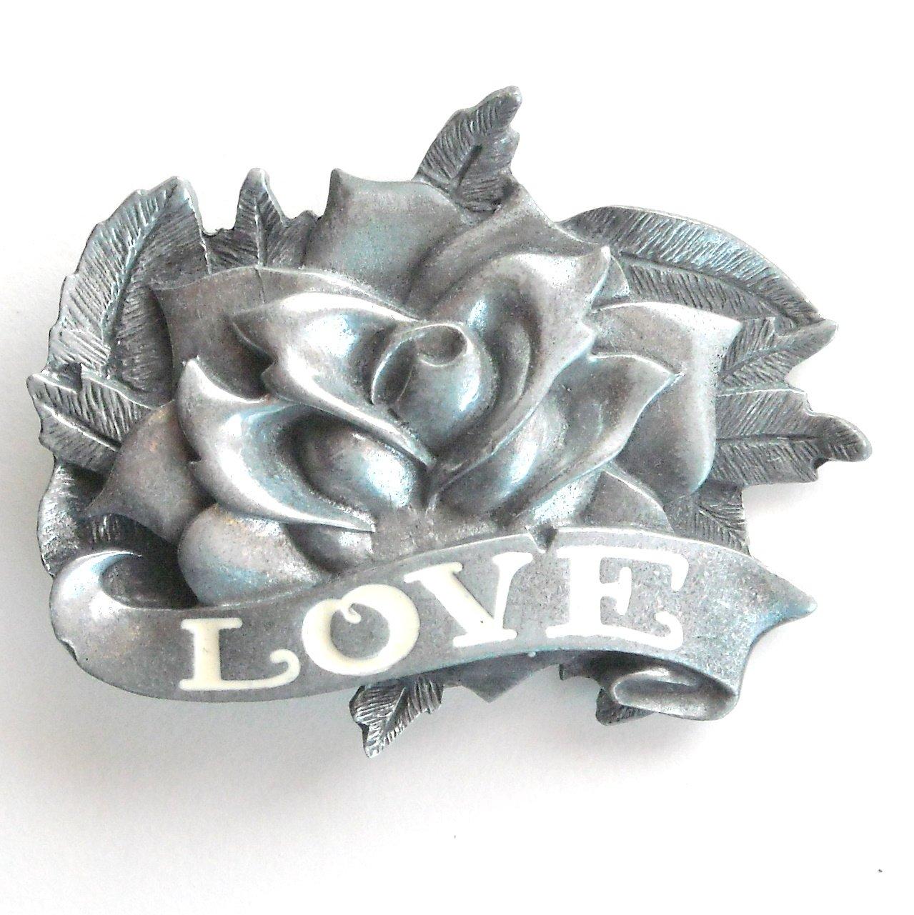 Love And Rose 3D Heavy Metal White Enamel Metal Belt Buckle