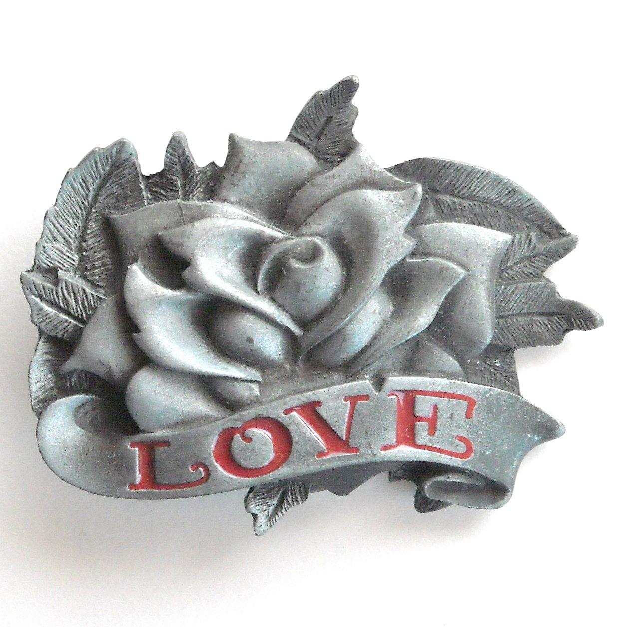 Rose And Love 3D Heavy Metal Red Enamel Metal Belt Buckle