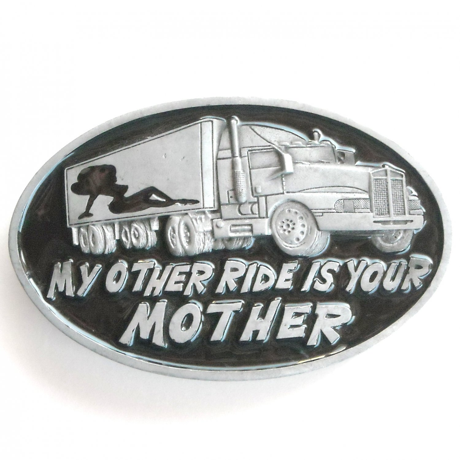 My Other Ride Is Your Mother Heavy Metal Black Enamel oval alloy belt buckle