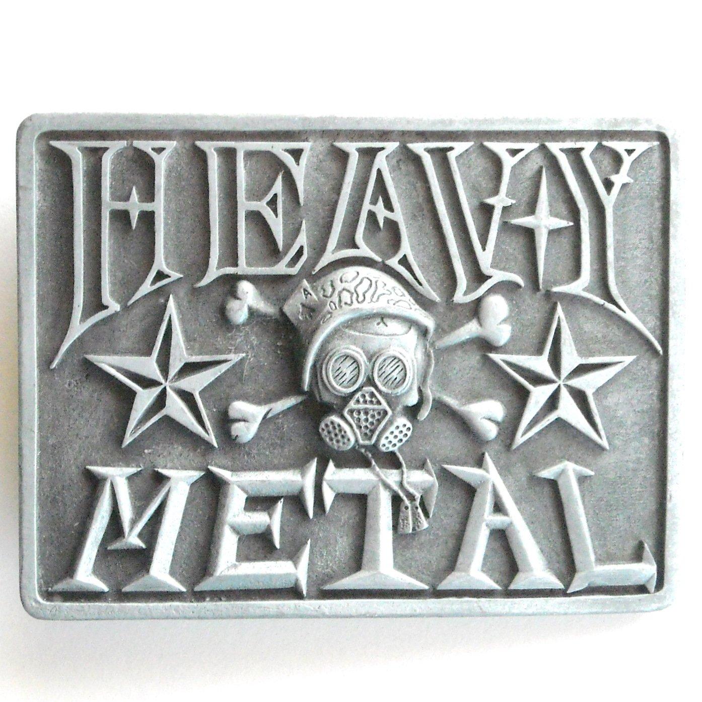 Heavy Metal Pewter Gray Rectangle Metal Belt Buckle