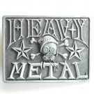 Heavy Metal Pewter Gray Rectangle Metal Belt Buckle