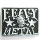 Heavy Metal Black Enamel Rectangle Metal Belt Buckle