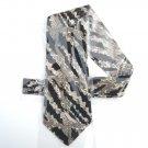 Vintage Oaktree Black Beige Design Silk Necktie Tie
