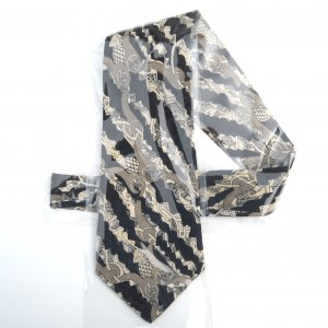 Vintage Oaktree Black Beige Design mens silk necktie tie