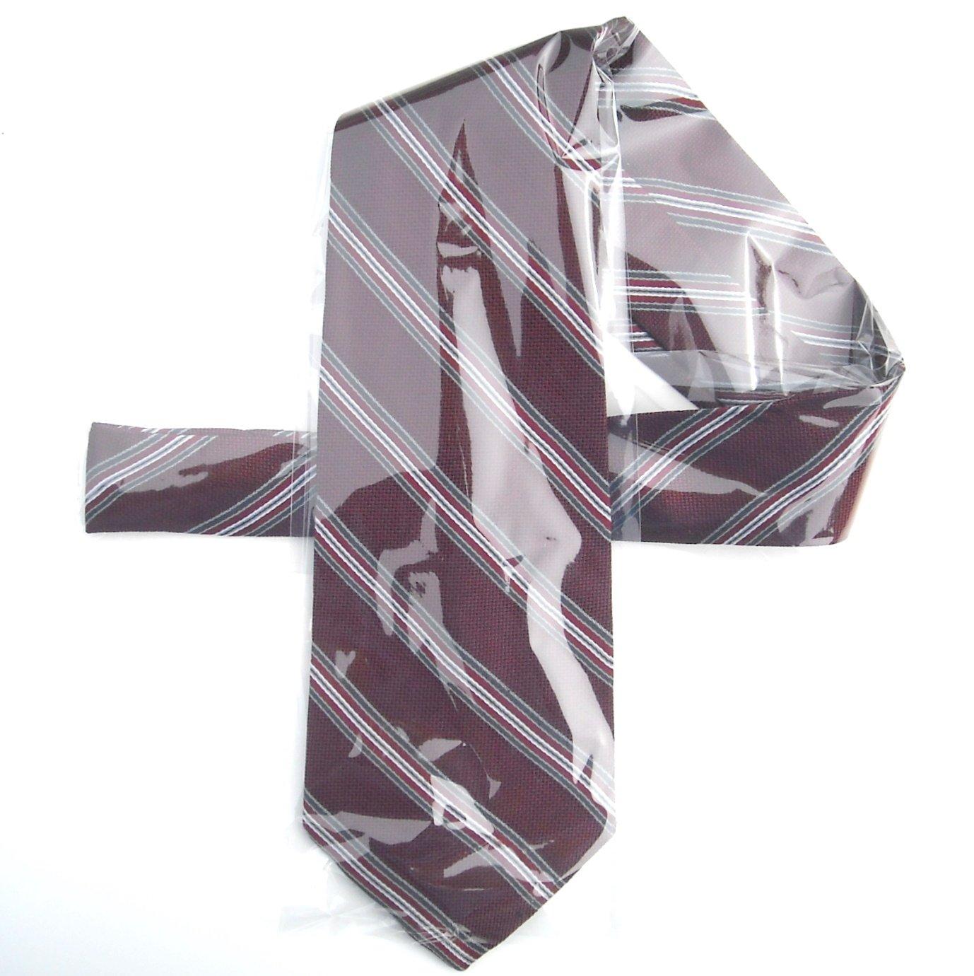 Vintage Nics Toggery Burgundy Striped Mens Silk Necktie Tie