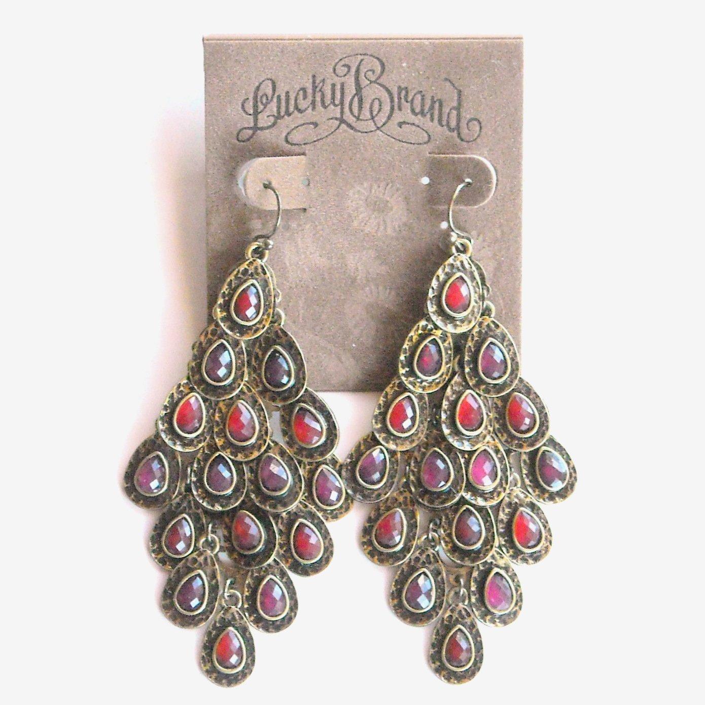 Lucky Brand Brass Chandelier Dangle Ruby Red earrings for women