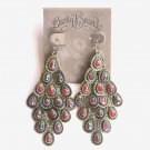 Lucky Brand Brass Chandelier Dangle Ruby Red earrings for women