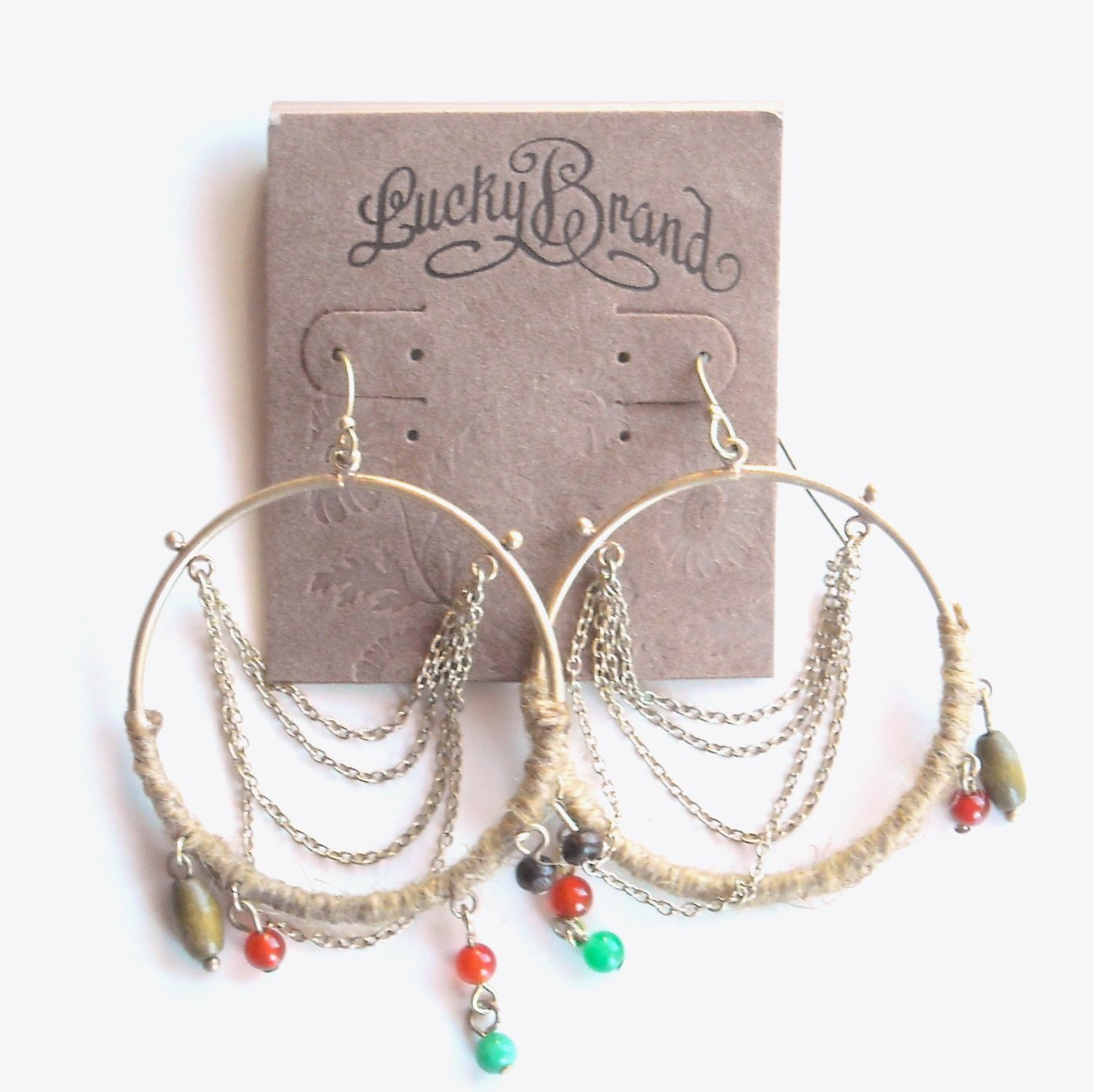 Lucky Brand Brass Hoop Dangle earrings for women