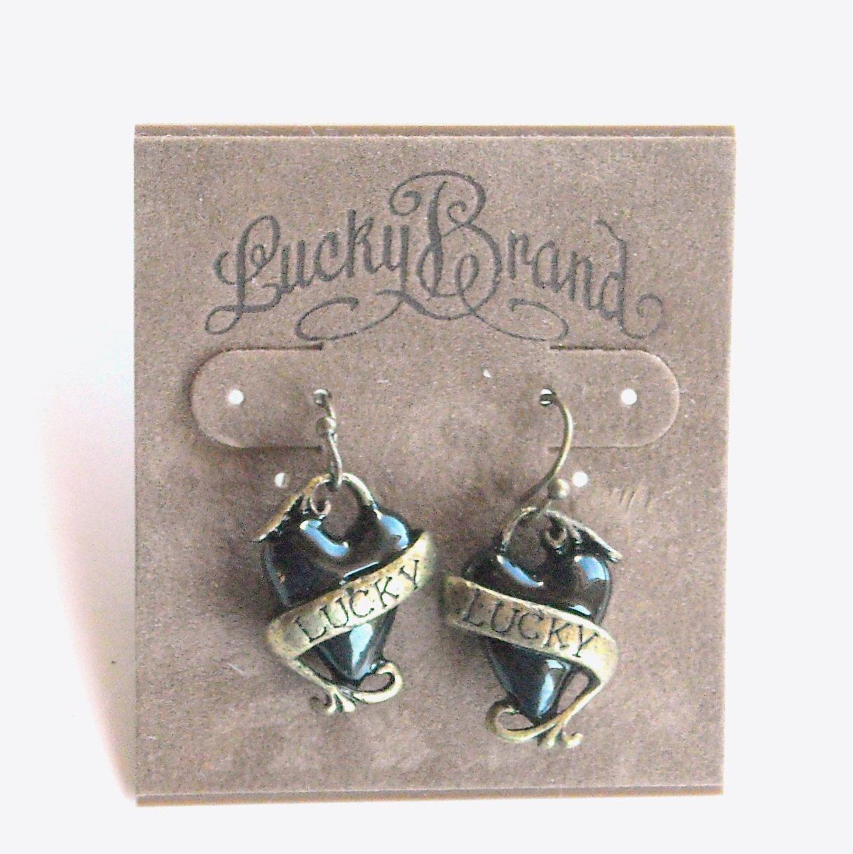 Lucky Brand Black Heart Dangle earrings for women