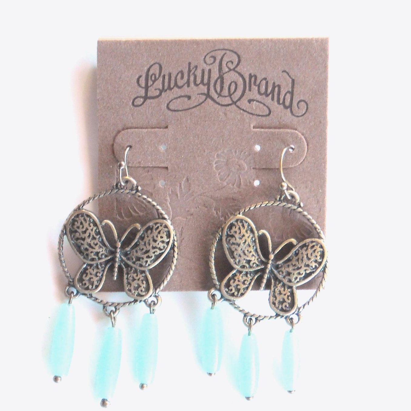 Lucky Brand Brass Butterfly Dangle Stone earrings for women