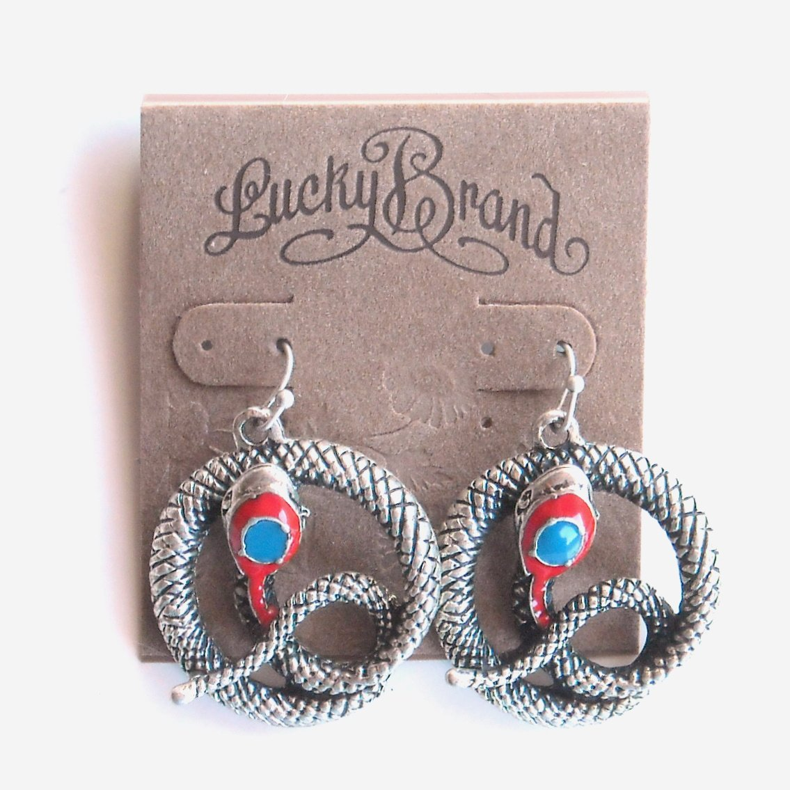 Lucky Brand Silver Snake Dangle Earrings