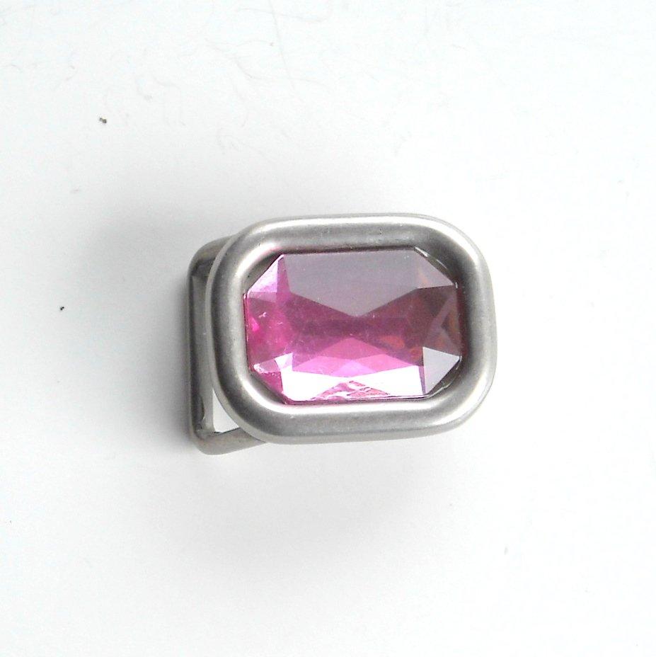 Small Pink Rhinestone Western metal belt buckle