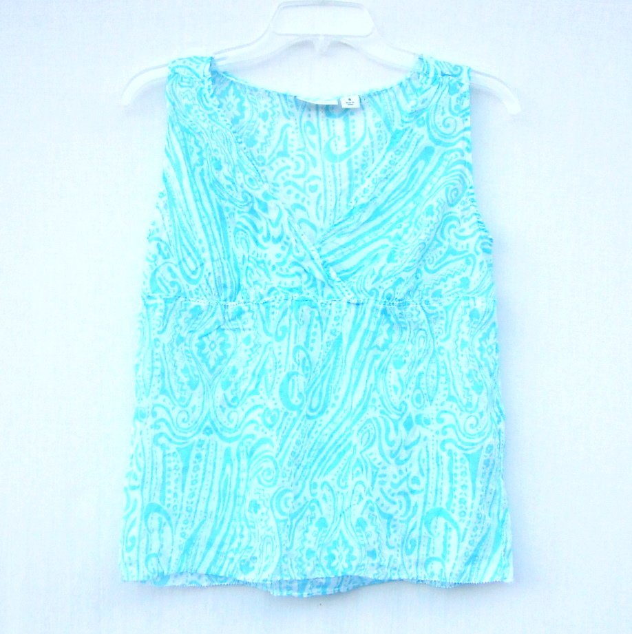 Dockers Misses Womens Sleeveless Blue Blouse Shirt Top Size S
