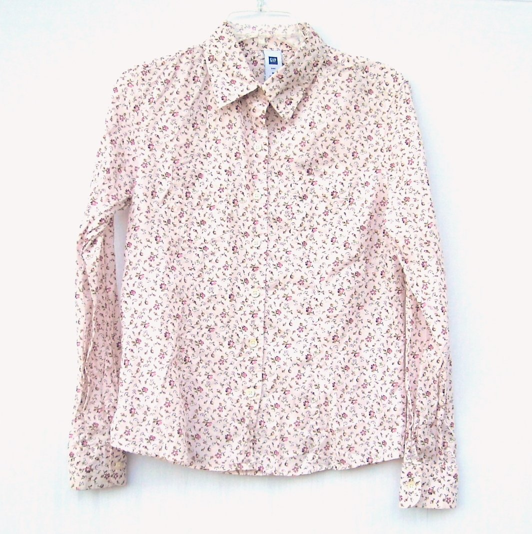 Gap Misses Womens Long Sleeve Button Down Blouse Shirt Top Size M