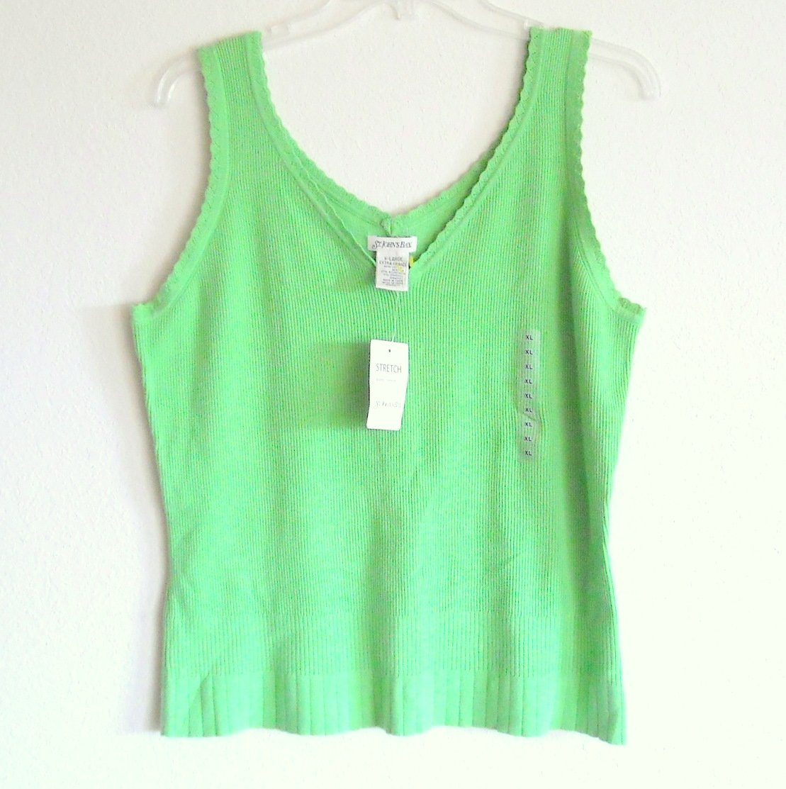St Johns Bay Misses Womens Stretch Tank Top Lime Yellow Size XL