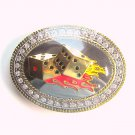 Flaming Lucky 7 Silver Rhinestone Carroo Belt Buckle